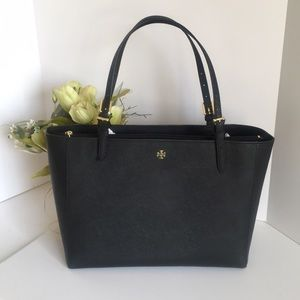 Tory Burch Emerson Large buckle tote bag black